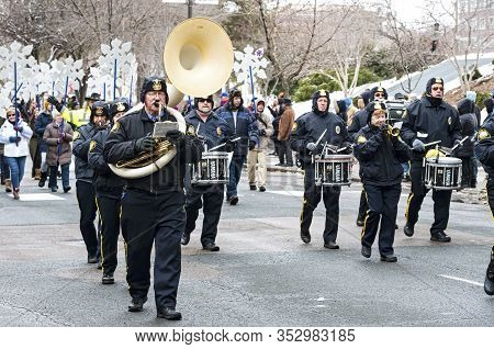St. Paul, Mn/usa - January 25, 2020: Saint Paul Police Band Plays At Annual Winter Carnival Parade.