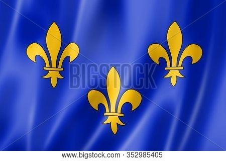 Ile-de-france Region Flag, France Waving Banner Collection. 3d Illustration