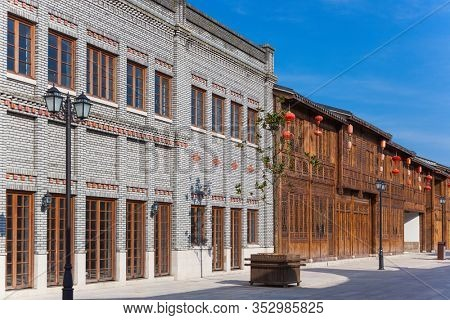 Row of old Chinese style brick and wooden houses  in a street,the Three Lanes and Seven Alleys,Fuzhou,Fujian,China.This is  traditional architectural style  in the begin of last century's.
