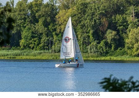 Kyiv Ukraine, The Dnieper River July 25, 2019. People Sail On Yachts That Are Rented At Yacht Club,