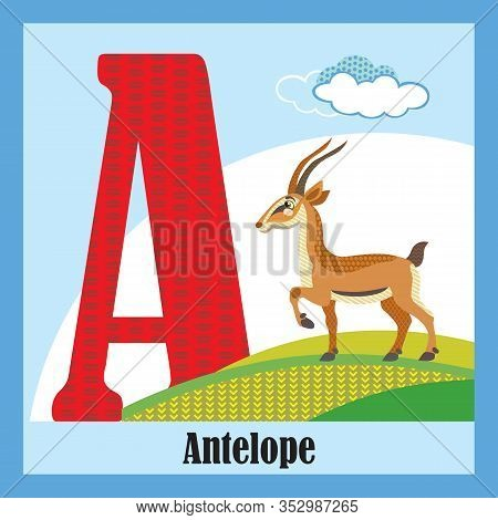 Vector Cartoon Flashcards Of Animal Alphabet, Letter A. Colorful Cartoon Illustration Of Letter And