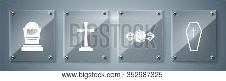 Set Coffin With Christian Cross , Candy , Tombstone With Cross And Tombstone With Rip. Square Glass
