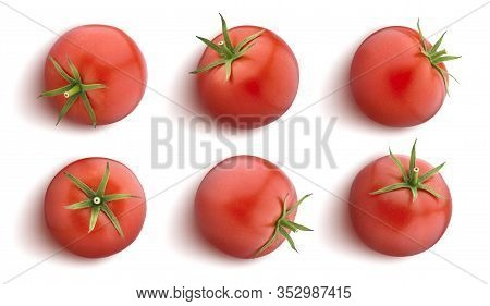 Tomato Isolated On White Background, Flat Lay, Top View