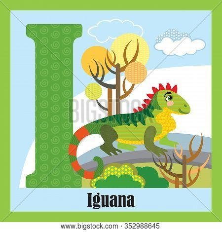 Vector Cartoon Flashcards Of Animal Alphabet, Letter I. Colorful Cartoon Illustration Of Letter And