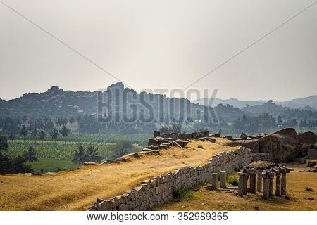 Beautiful View Of The Amazing Hampi's Ruins. Group Of Monuments At Hampi, Karnataka, India