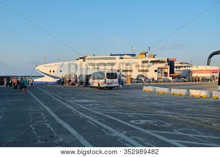 Greece Crete, Heraklion. 11-09-2019. Greek Seaport Of Heraklion, Ferries In Port, Close-up Of Sea Je