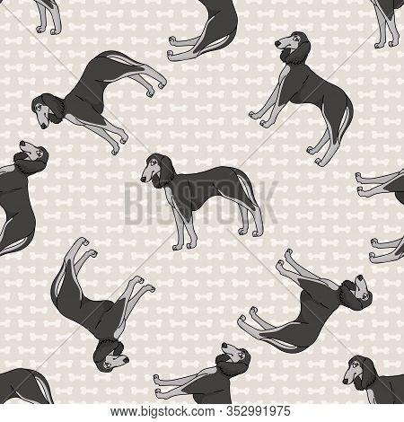 Hand Drawn Cute Saluki Breed Dog Seamless Vector Pattern. Purebred Pedigree Domestic Dog On Paw Back