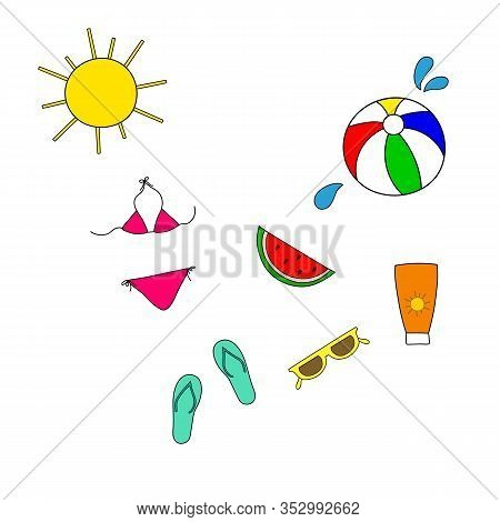 Set Of Freehand Doodle Vector Icons Stickers With Womens Accessories Objects For Beach Ocean Vacatio