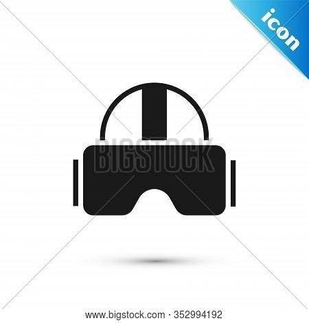 Grey Virtual Reality Glasses Icon Isolated On White Background. Stereoscopic 3d Vr Mask. Vector Illu