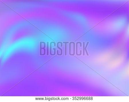 Hologram Effect Glitch Gradient Vector Design. Bright Blue Purple Ultraviolet Background. Hologram C