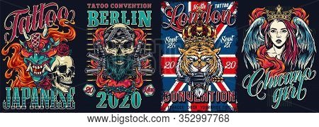 Tattoo Festival And Chicano Style Vintage Posters With Devil Mask Skull In Bandana Pistols Grenades