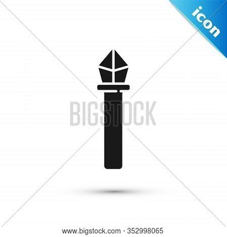 Grey Magic Staff Icon Isolated On White Background. Magic Wand, Scepter, Stick, Rod. Vector Illustra
