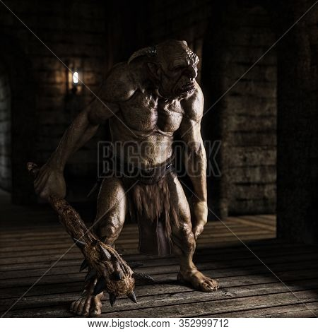 An Evil Troll With Spiked Club Wandering The Labyrinth Halls Looking For Prey . 3d Rendering