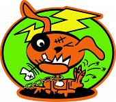 Zombie Dog Clip Art in Funny Cartoon Style poster