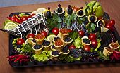 Russian cuisine - baked sturgeon with black and red caviar poster
