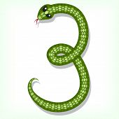 Font made from green snake. Digit 3 poster