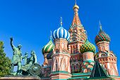 Monument to Minin and Pozharsky with Pokrovsky Cathedral in Moscow Russia poster