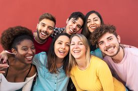 Group Multiracial People Having Fun Outdoor - Happy Mixed Race Friends Sharing Time Together - Youth