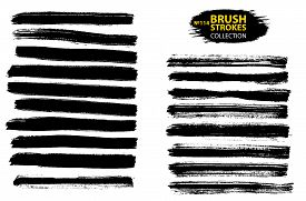 Vector Black Paint, Ink Brush Stroke, Brush, Line Or Texture. Collection Of Black Paint, Ink Brush S