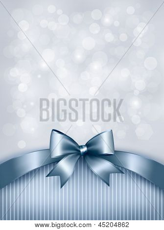 Holiday Blue Background With Gift Glossy Bow And Ribbon. Vector