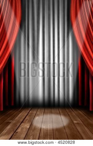 Vertical Stage Drapes With Spot Light