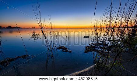 Rural Lake At Sunrise