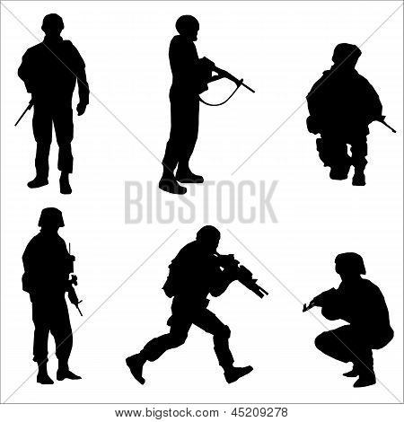 Set Of Soldier Silhouettes Black Vector Illustration