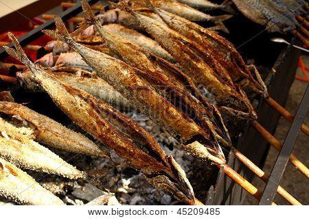 Grilled Fish (steckerlfisch) In Munich Oktoberfest