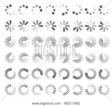 Web page loading status icons isolated on white background.