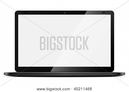 Moderno negro portátil fino con pantalla en blanco, aislado sobre fondo blanco.