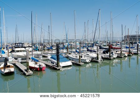 Multiple rows of boats docked in San Francisco