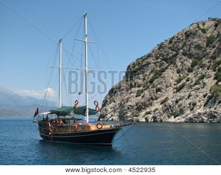 Sailing Vessel And Mountain