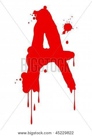 Wet paint font type letter A