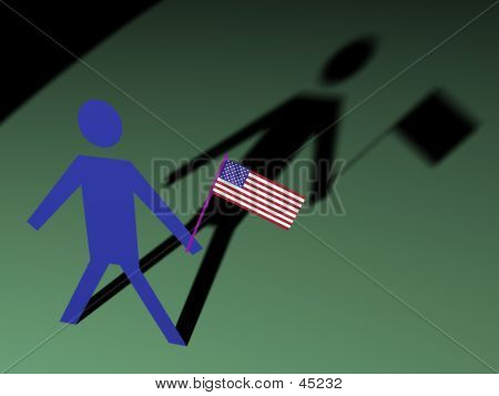 Paperman With Flag
