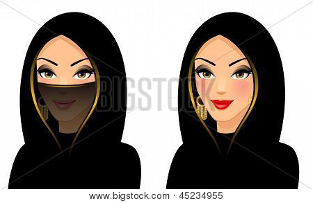 Vector illustration of The girl of east type in a yashmak