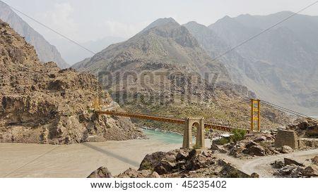Suspension Bridge Across The Indus River, Pakistan