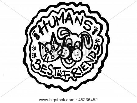 Logo of pets,inspecific dog and cat best humans friends poster