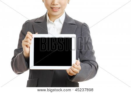 asian business woman present tablet