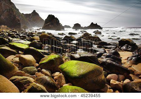 Rocky seascape of Ursa Beach in Portugal
