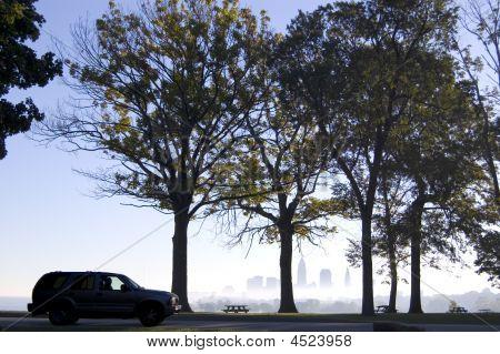 Suv Silhouette In Park