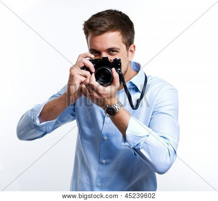 Photographer using his camera