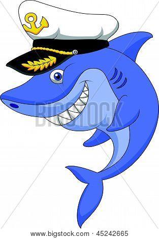 Vector illustration of Shark captain cartoon isolated on white background poster