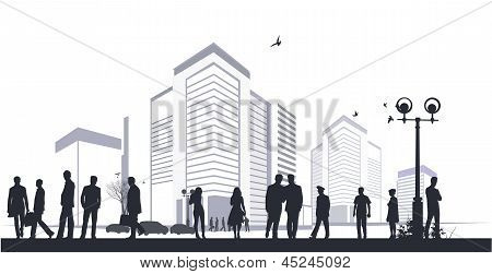 Many Silhouettes In City