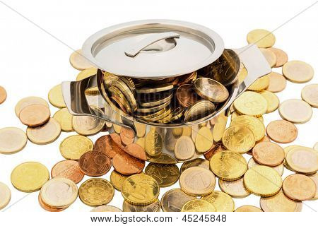 a cooking pot is filled with euro coins, symbolic photo for funding poster
