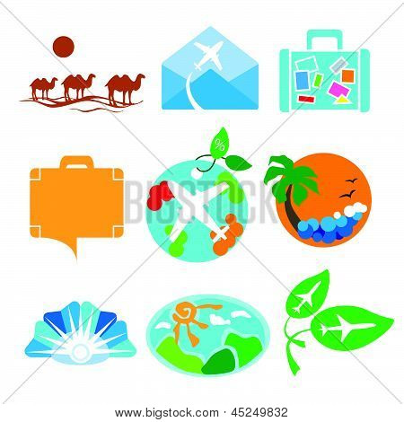 Vector collection of stylized design of signs for travel agency poster