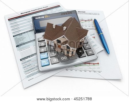 Mortgage application form with a calculator and house. 3d poster