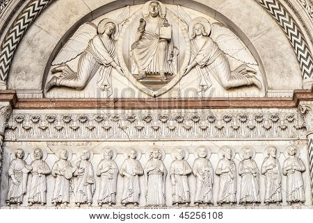 Lucca (tuscany) - Detail Of The Cathedral Facade
