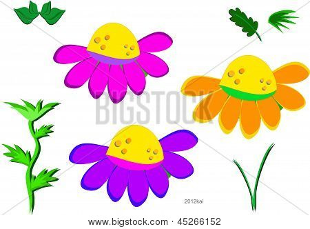混合的花、 茎和叶