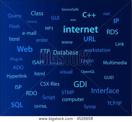 internet computer words on a blue wall poster