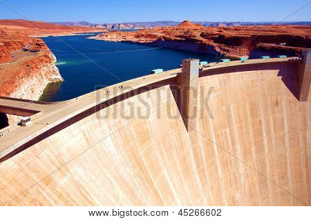 Lake Powell and Glen Canyon Dam in the Desert of Arizona,United States